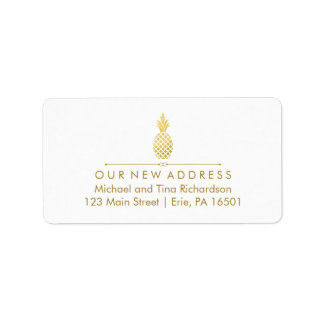 New Address with Gold Pineapple Address Label
