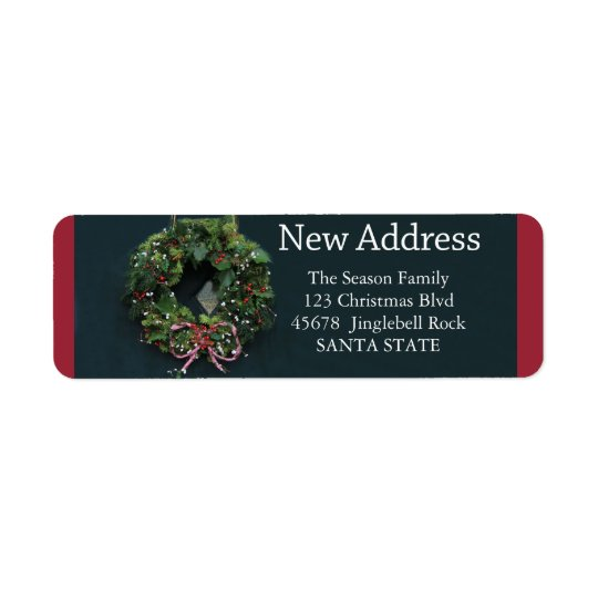 New Address x-mas wreath Holiday Label Return Address Label