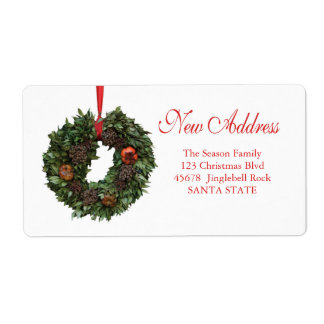 New Address x-mas wreath Holiday Label Shipping Label