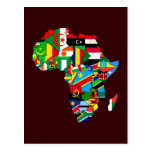 New African Country Flags Flag Map of Africa Postcards