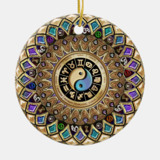 New Age Gold Mandala Ornament with Astrology Signs