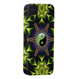 New Age Green YinYang Hexagon Neon Fractals iPhone 4 Covers