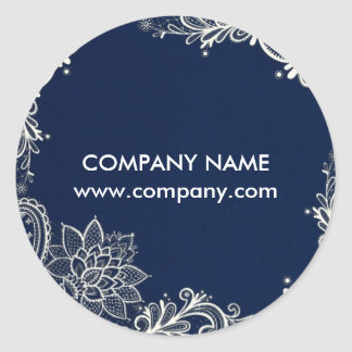 New Age Yoga navy blue henna bohemian lace Classic Round Sticker
