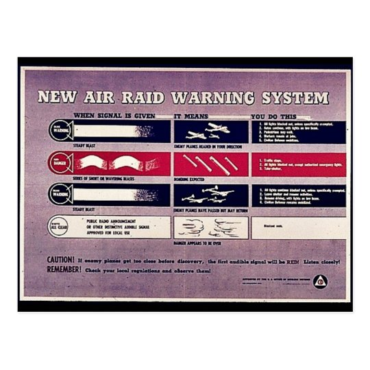 New Air Raid Warning System Postcard