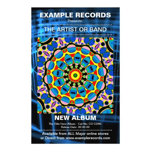 New Album Launch - Blue Spiral Textured Personalized Flyer