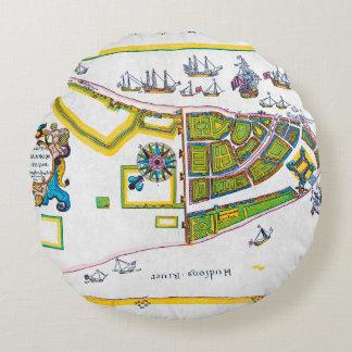 New Amsterdam Map, 1661 Round Cushion