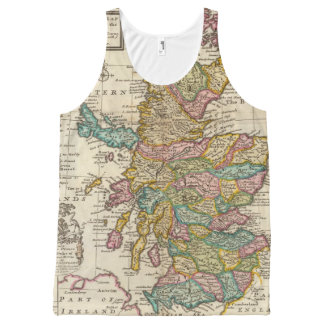 New and correct map of Scotland and the Isles All-Over Print Tank Top