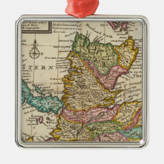 New and correct map of Scotland and the Isles Silver-Colored Square Decoration