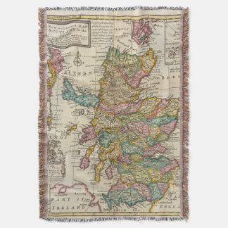 New and correct map of Scotland and the Isles Throw Blanket