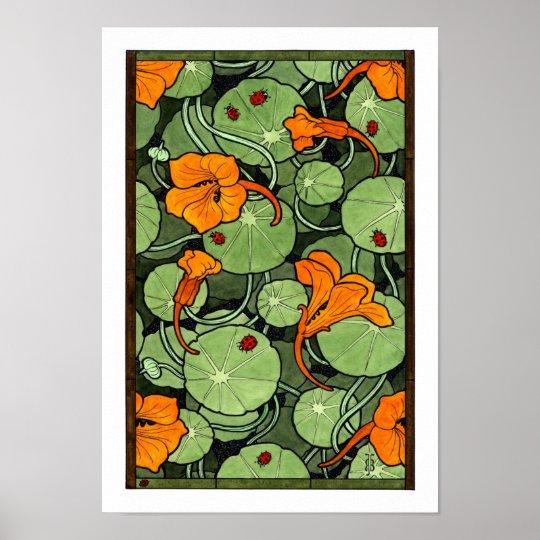 New! Art Nouveau Nasturtiums Poster
