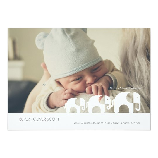New Baby Along Came Elephant Announcment card