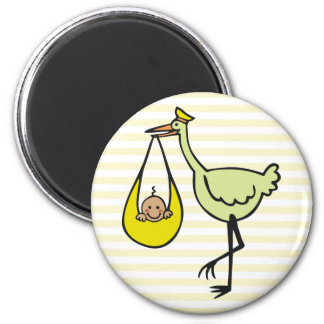 New Baby and Green Stork 6 Cm Round Magnet
