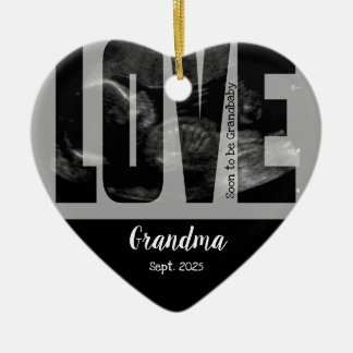 New Baby Announcement - Sonogram with DIY Text Christmas Ornament
