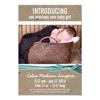New Baby Announcement with Large Photo