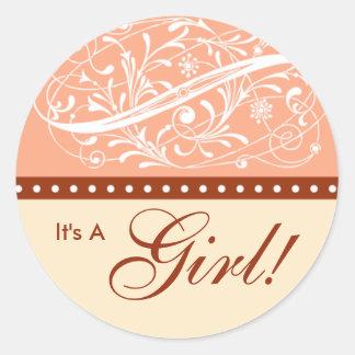 New Baby | Birth Announcement | Baby Shower Peach Classic Round Sticker