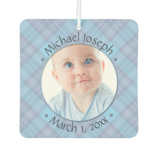 New Baby Blue Plaid Personalized Dated Car Air Freshener