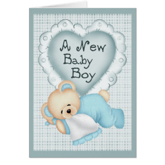 New Baby Boy Bear Greeting Cards