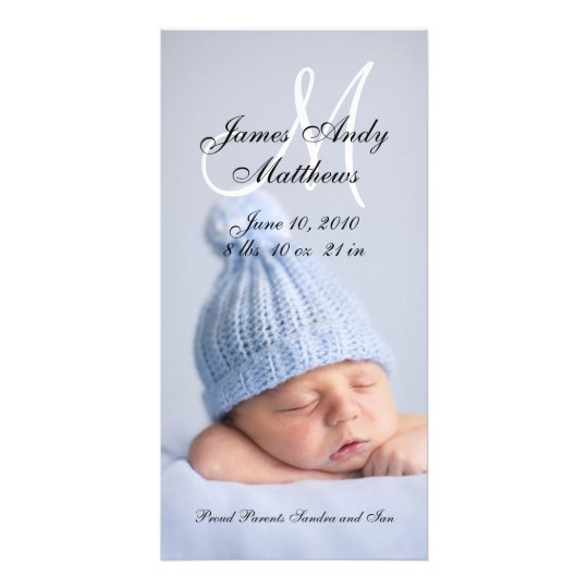 New Baby Boy Birth Announcement Photo Cards