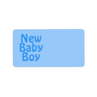 New Baby Boy. Blue. Label
