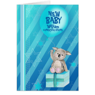 New baby boy Keddy Koala Card Blue