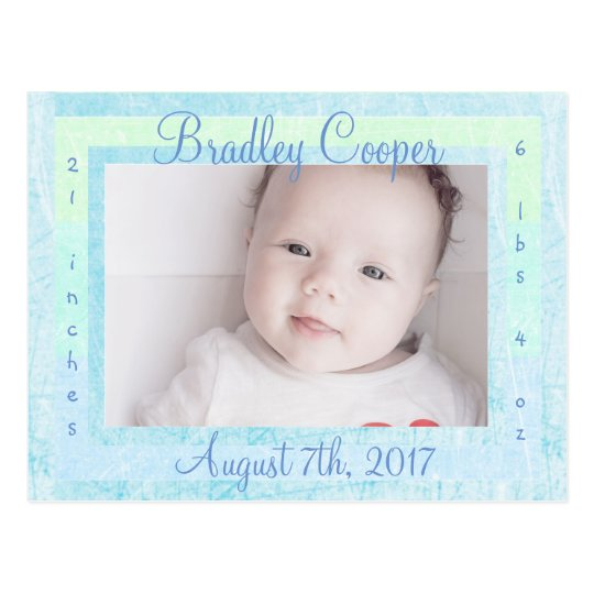 New Baby Boy Newborn Photo Birth Announcements Postcard