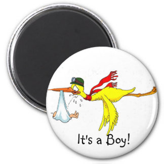 New baby boy Peeing on the stork! 6 Cm Round Magnet