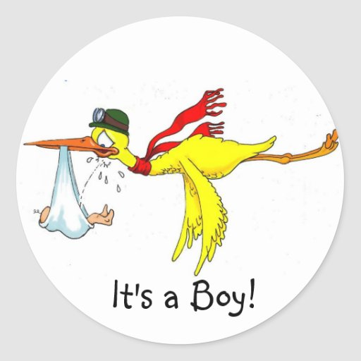 New baby boy Peeing on the stork! Round Stickers