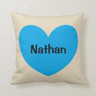 New Baby Boy Personalized Blue Heart with Name Cushion