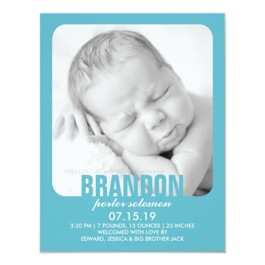 New Baby Boy Photo Flat Announcement