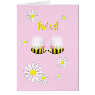 New Baby Congratulations Twin Girls Greeting Card
