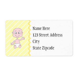 New Baby! Cute baby waving. On Yellow stripes.