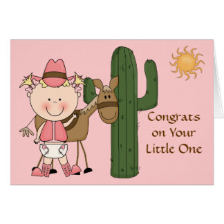 New Baby Girl and Pony Congratulations - Western Greeting Card