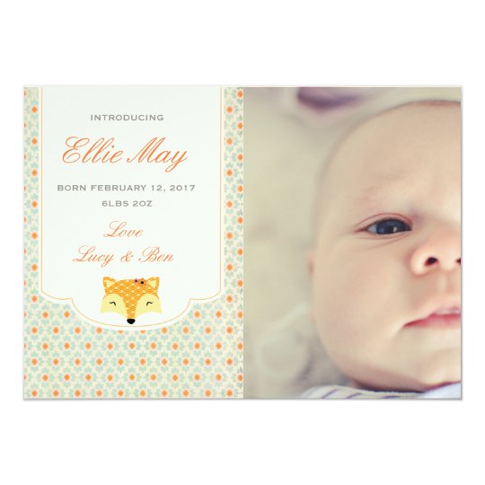 new baby girl announcement photo card woodland fox