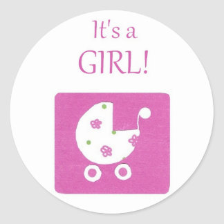 New Baby Girl Announcement Stickers