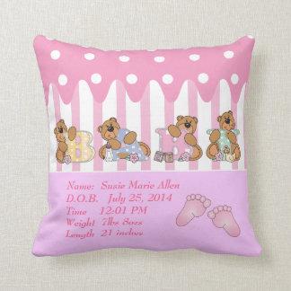 New Baby Girl Bears Cushion
