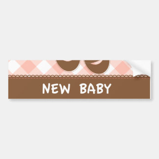 New Baby Girl Booties Brown and Pink Bumper Sticker