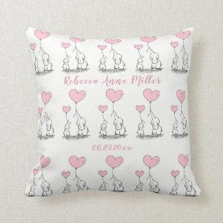 New Baby Girl Hearts And  Elephants Keepsake Cushion