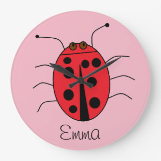 New Baby Girl Name Adorable Personalized Ladybug Large Clock