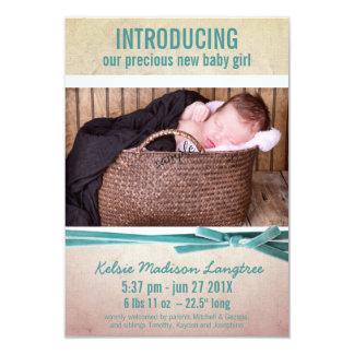 New Baby Girl Photo and Velvet Ribbon 9 Cm X 13 Cm Invitation Card