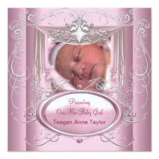 New Baby Girl Pink Silver Star 13 Cm X 13 Cm Square Invitation Card