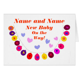 New baby on way, congratulations, Add Names front. Greeting Card
