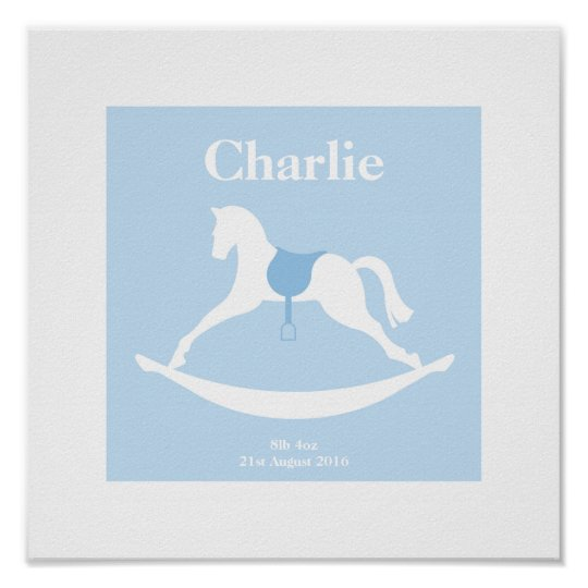 New Baby Personalised Blue Rocking Horse Poster