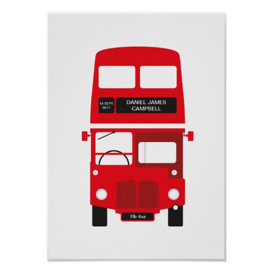 New Baby Personalised London Red Bus Poster