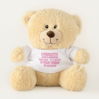 New Baby Personalized Birth Information (pink) Teddy Bear