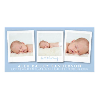 New Baby Photo Card | Multiple Photos | Blue