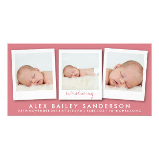 New Baby Photo Card | Multiple Photos | Red