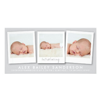 New Baby Photo Card Multiple Photos Silver