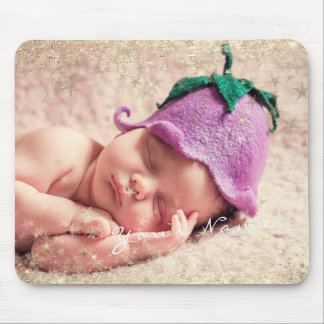 New Baby Photo Golden Confetti Stars Framed Mouse Mat