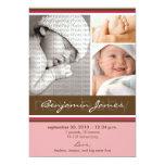 New Baby Photo Trio Birth Announcement (pink)