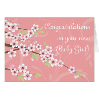 New Baby, Pink Cherry Blossom Card